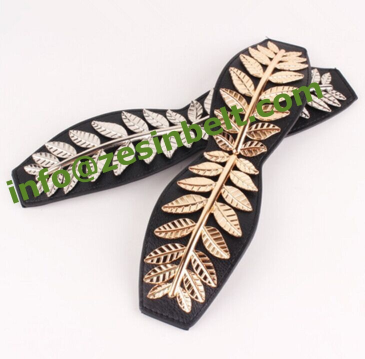 Fashion Large Leaf Stretch Belt For women
