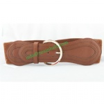 Fashion Wide Vintage Elastic Belt For Women Gold Pin Buckle Brown Belt