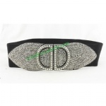 Fashion Super Wide Rhinestone and Jewels Elastic Belt For Women