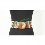 Ethnic Wooden Buckle Beaded Elastic Belt For Women