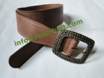 Vintage Brown Wide Curve Belt With Roses Engraved Buckle