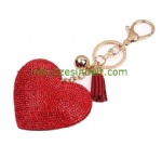 Fashion Large Heart Full with Jewel Tassel Keychain
