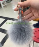 Fashion Faux Fur Pom Pom Bag Charm With Jewel PU Band